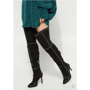 Studded thigh high stiletto boots size 6